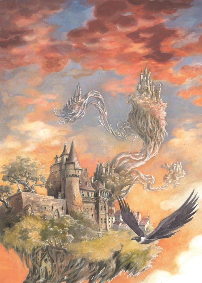 Illustration d'un château situé au sommet de branches.
