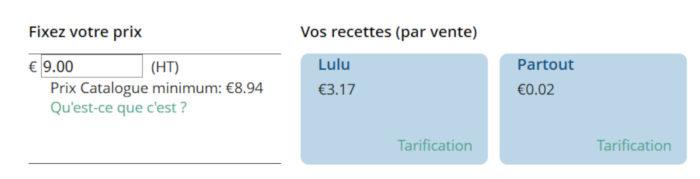 Lulu.com - Choix du prix et des recettes