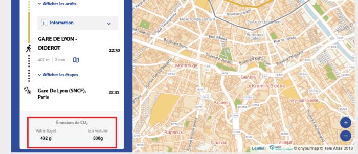 Itinéraires calculé par la RATP